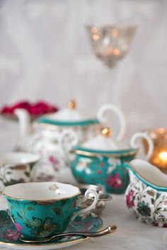 """NISHAAT The #Nishaat #DesignStory is inspired by the #Mughals #gardens of #Kashmir. Our favourite motto is """"More tea, more stories"""" Discover more on our #WebBoutique . We shared a #Monsoon #ReadingList and #chaitime #playlist on our blog #EarthSong to suggest books to enjoy with endless cups of #tea. #enchantedindia #teaservice #bonechina #books #wanderlust #nostalgia #design #culture #chai #teatime #indianluxury #music"""