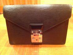 Louis Vuitton Black Epi Leather  mens handbag  bag clutch slightly used #LouisVuitton