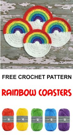 Colourful rainbow coasters to brighten up your table ! Crochet Designs, Crochet Ideas, Crochet Projects, Crochet Home, Free Crochet, Knit Crochet, Small Crochet Gifts, Knitting Patterns Free, Crochet Patterns