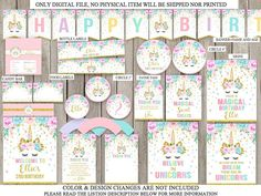UNICORN PARTY PACKAGE PERSONALIZED PRINTABLE DIGITAL FILE Super cute for a Special birthday! No physical items will be shipped to you. This listing is for a UNICORN PARTY PACKAGE personalized The items comes AS IS, as show in images IMPORTANT INFORMATION