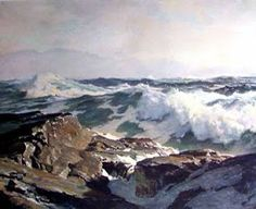 Art and Influence: Frederick Waugh Notes on Marine Painting Ocean Art, Ocean Waves, Landscape Art, Landscape Paintings, Landscapes, Ocean Scenes, Paintings I Love, Sea And Ocean, Seascape Paintings