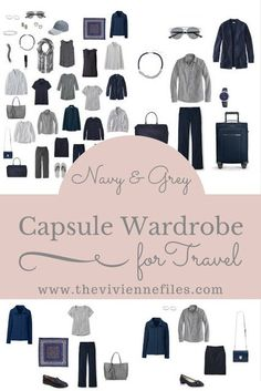 How to Choose Accessories for Travel: a Navy and Grey Travel Capsule Wardrobe