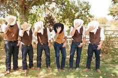 Western Style Wedding Groomsmen and cowboy hats!Groomsmen and cowboy hats! Country Wedding Groomsmen, Camo Wedding, Groom And Groomsmen, Wedding Men, Wedding Pictures, Dream Wedding, Wedding Rustic, Country Weddings, Cowboy Groomsmen