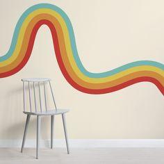 Geometric Stripe Wallpaper, Retro Wallpaper, Wallpaper Murals, 1970s Kitchen Wallpaper, Room Wall Painting, Room Paint, Flur Design, Bedroom Murals, Living Room Murals