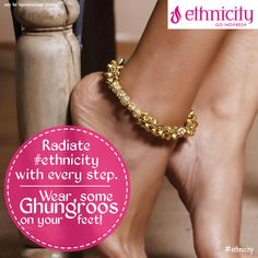 Hear #ethnic sounds as you walk with ghungroos on your feet! Check out #ethnicity's accessories at your nearest store! #ethnicwear #fashion #style