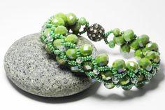 Glass Bead Bracelet Wedding Bracelet Green Bracelet Peyote Bracelet Beadwork Bracelet Woven Beaded Bracelet Wedding Jewelry Gift by FashionPopups