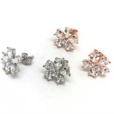 Pearl Earrings Wedding, Rose Gold Earrings, Bridal Earrings, Flower Earrings, Vintage Earrings, Crystal Earrings, Bridal Jewelry, Stud Earrings, Vintage Wedding Jewelry