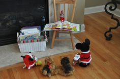 Elf on the Shelf Ideas. Also love the idea of having Xmas books in a special Xmas basket in the living room.