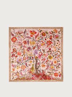 Silk Tree of Life Print Square Scarf - Soft accessories - Women - Salvatore Ferragamo US