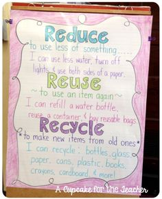 A Cupcake for the Teacher: Reduce, Re-Use, Recycle Anchor Chart!