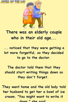 The Funny Old Forgetful Couple Go To A Doctor Funny Poems, Funny Vidos, Stupid Funny, The Funny, Funny Quotes, Clean Jokes For Seniors, Really Funny Joke, Funny Stuff, Epic One Liners