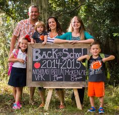 First day of school Chalk Board photo. Family photo shoot before school starts!  Easy Chalkboard done with chalk board markers. Multiple children chalk board for back to school.