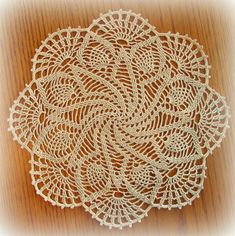 Tropical Pinwheel Doily in a new color--white! Free Crochet Doily Patterns, Crochet Lace Edging, Cotton Crochet, Thread Crochet, Filet Crochet, Knitting Patterns Free, Hand Crochet, Crochet Stitches, Crochet Dollies