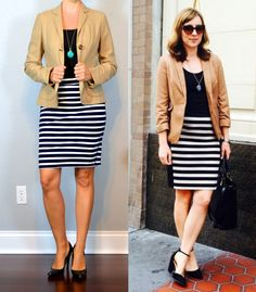 outfit post: camel blazer, black tank, striped jersey pencil skirt