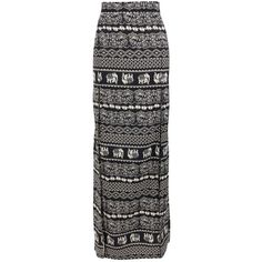 Boohoo Carrie Elephant Print Crepe Maxi Skirt (16 CAD) ❤ liked on Polyvore featuring skirts, black, floor length black skirt, black maxi skirt, floor length skirt, long skirts and black skirt