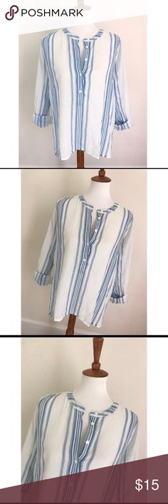 J. Crew black label striped career blouse - Size 10/M. Worn about 3 times, very well taken care of. Beautiful blouse.  - I don't trade or sell outside of posh. - I ship every single day!  - All items come from a smoke free home!  - If you have anymore questions just let me know and I would be happy to help! 🙂 J. Crew Tops Blouses