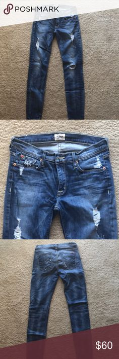 Hudson destroyed skinny jeans Distressed Hudson skinny jeans. Only worn a few times! Great condition! Hudson Jeans Jeans Skinny