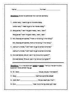 this grammar worksheet is for the instruction of the proper identification and uses of quotation. Black Bedroom Furniture Sets. Home Design Ideas