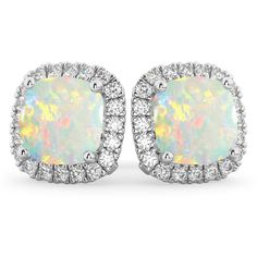 These white gold stud earrings feature of accent diamonds forming a halo around of center cushion cut Opals combined on both earrings. White Gold Diamond Earrings, Rose Gold Earrings, White Gold Diamonds, Diamond Stud, Halo Diamond, Gemstone Earrings, Stud Earrings, Cushion Cut, Jewelry