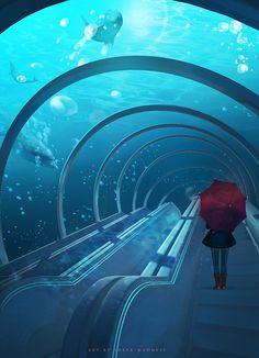 The Art Of Animation, Olga Orlova Fantasy Art Landscapes, Fantasy Landscape, Fantasy Artwork, Arte Sci Fi, Sci Fi Art, Wallpaper Animes, Underwater City, Scenery Wallpaper, Environment Concept Art
