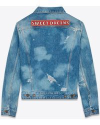 "Saint Laurent | Original Oversized ""sweet Dreams"" Jean Jacket In Medium Blue Bleached Denim 