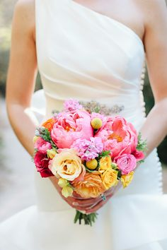 Bright Bouquet with Peonies - On http://www.StyleMePretty.com/california-weddings/2014/03/31/outdoor-garden-wedding-at-piedmont-community-hall/ Photography: Meg Sexton - megsexton.com
