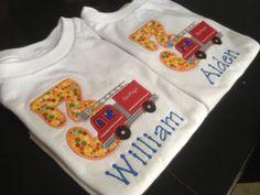 Fire truck Birthday Shirt by CharlottesStitch on Etsy, $23.00