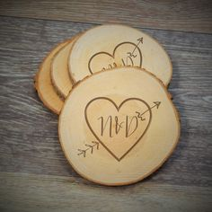 Arrow Heart Wood Slice Coaster Rustic Wood by PersonalizedGallery