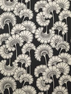 'Japanese Floral' BB05 wallpaper, offcut in cream silk on matt black - Florence Broadhurst  #pattern