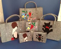 Felt Bag With Leather Handle SPARROW BAG by MOOSEdesignBAGS
