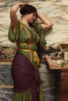 "John William Godward (1861-1922) - ""A Fair Reflection"""