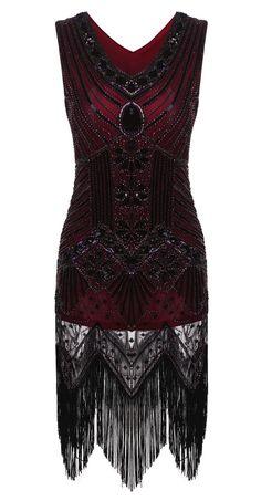 Vintage1920s Style Slim Package Hip V Neck Tassel Sequined Flapper Party Dress