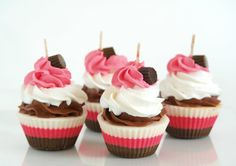Ice Cream Cupcake Candles Birthday Gift// pink, white and brown colors, standard size // Bakery box of four cupcakes // Handmade in Brooklyn