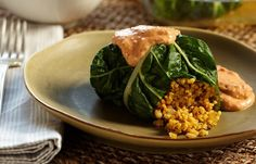 Millet-Stuffed Chard Rolls, the roasted red pepper sauce looks AMAZING!!!