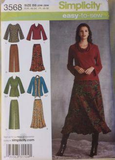 Simplicity Pattern 3568 sizes 20W-28W Misses'/Women's tops, pants, shirt FS