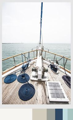 Nautical Notions: Set sail and style a room with crisp blues and grays inspired by journeys across the Pacific and beyond. Paint Schemes, Colour Schemes, Color Patterns, Color Combos, Home Decor Inspiration, Color Inspiration, Marine Colors, New Paint Colors, Pallet Painting