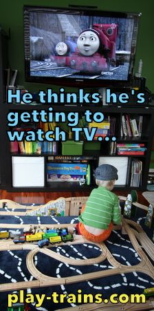 ...but is he actually watching it?  How we limit screen time by transforming it into play, plus ideas for playing out the latest Thomas & Friends movie.  Playing Along with Blue Mountain Mystery @ Play Trains!