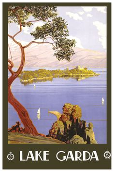 Lake Garda vintage travel poster