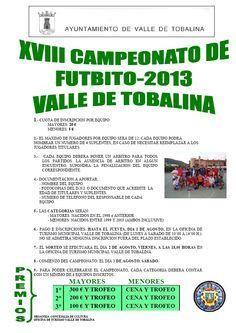 XVIII Campeonato de Futbito 2013 Valle de Tobalina #Merindades Inscripción hasta el 1 de Agosto