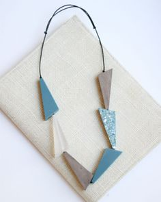 Teal and Clear Resin and Wood Geometric Necklace by Sylca