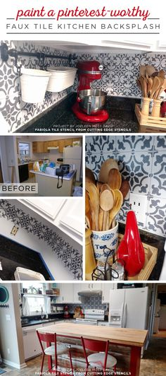 Cutting Edge Stencils shares a kitchen makeover with a DIY stenciled faux tile backsplash using the Fabiola Tile Stencil. http://www.cuttingedgestencils.com/fabiola-tile-stencil-spanish-portugese-tiles-stencils.html