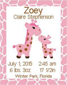 Giraffe/Jungle Birth Record/ Announcement Wall Art by SherrysHouse