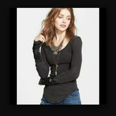 Free people thermal top Free people thermal top with Lacey detail on sleeves Free People Tops