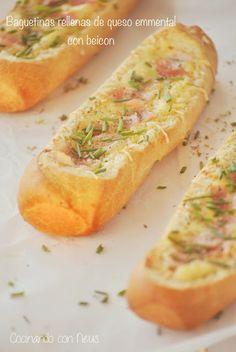 Cocinando con Neus: Baguetinas rellenas de queso emmental y beicon Hot Dog Buns, Hot Dogs, Pasta, Calzone, Canapes, Relleno, Queso, Sandwiches, Blog