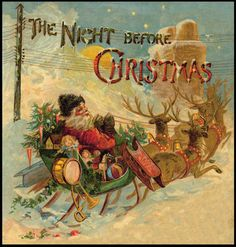 Vintage Christmas Cards and Art / Santa and Sleigh