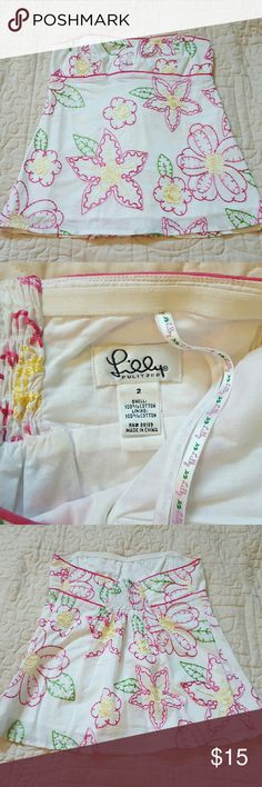 Lilly Pulitzer embroidered strapless top So cute! Top is authentic Lilly, white label.  Has original hanging ribbons, ruched back, side zip, and a gentle sweetheart neckline. Worn twice, in excellent condition.  From a smoke-free and cat-free home. bundle and save- 15% off 2 or more items! Open to reasonable offers. Lilly Pulitzer Tops