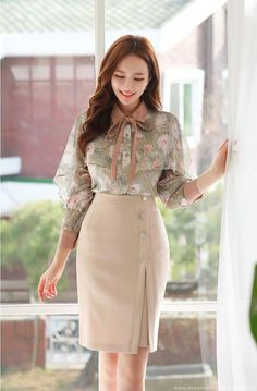 Romantic & Trendy Looks, Styleonme Korean Fashion Dress, Modest Fashion, Fashion Dresses, Work Fashion, Fashion Fashion, Stylish Work Outfits, Office Outfits, Vestidos Fashion, Pencil Skirt Outfits