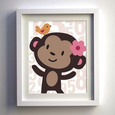 Shop for art on Etsy, the place to express your creativity through the buying and selling of handmade and vintage goods. Monkey Nursery, Bunny Nursery, Nursery Room, Girl Nursery, Little Babies, Little Ones, Crib Accessories, Nursery Themes, Nursery Ideas