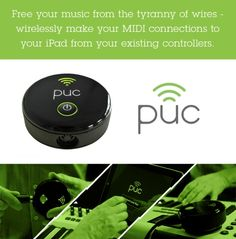 PUC is a wireless MIDI interface designed specifically for iOS devices allowing you to wirelessly connect any MIDI device such as a keyboard, DJ controller Apple Ipad Accessories, Drum Pad, Ipad Tablet, Interface Design, Tech Gadgets, Ipod Touch, Cincinnati, Keyboard, Dj