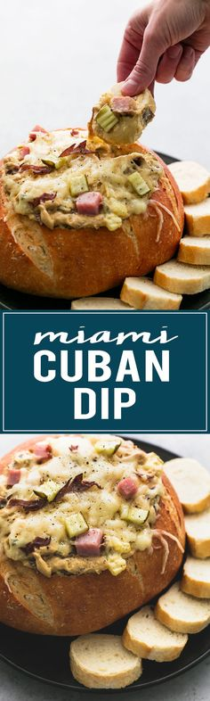Miami Cuban Dip - a cheesy, dippable twist on the famous Cuban sandwich! | http://lecremedelacrumb.com